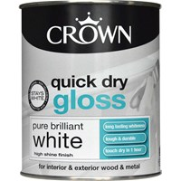 Crown  Quick Dry Gloss Brilliant White Paint - 750ml