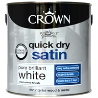 Crown  Quick Dry Satin Pure Brilliant White Paint - 2.5 Litre