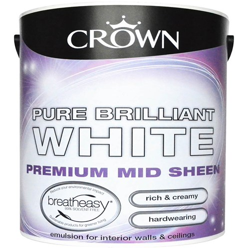 Crown  Midsheen Brilliant White Paint - 2.5 Litre