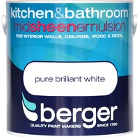 Berger  Kitchen & Bathroom Brilliant White Paint - 2.5 Litre