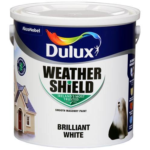 Dulux Weathershield Masonry Brilliant White Paint - 2.5 Litre