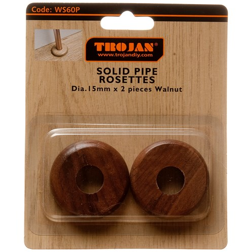 Trojan  Solid Radiator Rosettes 15mm 2 Pack - Walnut