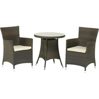 Royalcraft  Cannes Rattan 2 Seater Mocha Brown Bistro Set