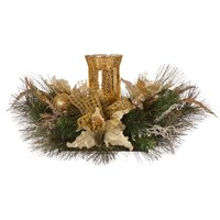 Festive  Christmas Table Centrepiece Candle Holder - Gold