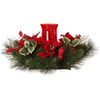 Festive  Christmas Table Centrepiece Candle Holder - Red