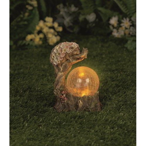 Premier Decorations  Hedgehog with Crackled Glass Globe