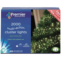 Premier Decorations  2000 LED Multi Action Cluster Lights - Warm White