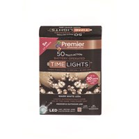 Premier Decorations  50 LED Battery Timer Lights - Warm White