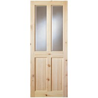 InDoors  Ashford 4 Panel Interior Bevelled Glass Pine Door - Unfinished