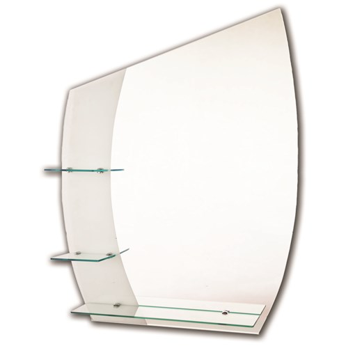 Tema  Etched Curved Mirror with 3 Shelves - 90 x 70cm