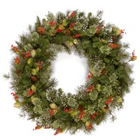 National Tree Company  Wintry Pine Christmas Wreath with Pine Cones, Red Berries & Snowflakes - 60cm